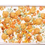 Sheet Pan Chicken Meatballs with Tomatoes and Chickpeas