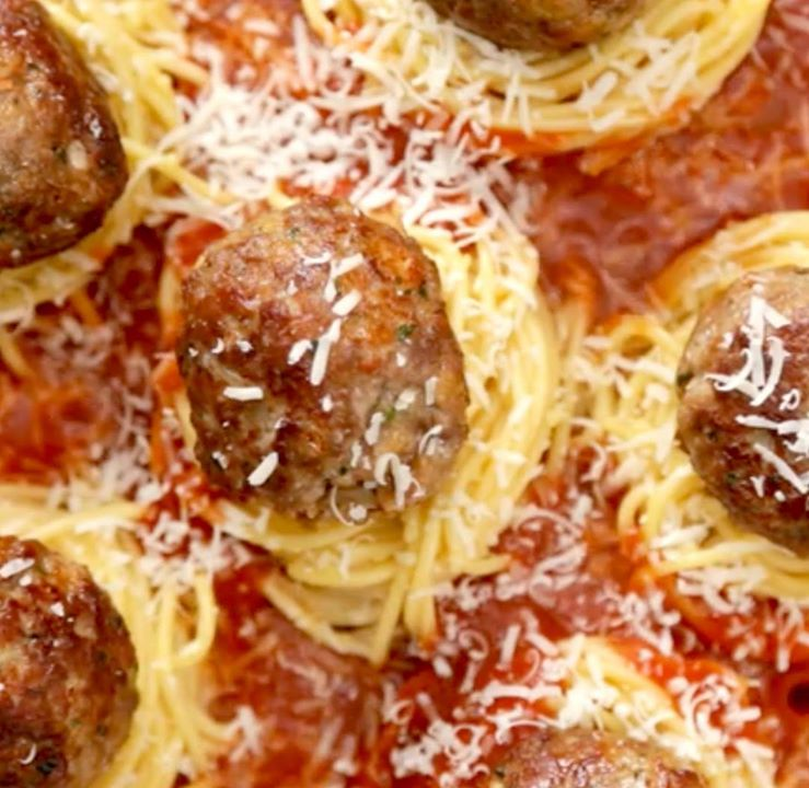 Spaghetti and meatball nests cooking tv recipes author the chef forumfinder Image collections
