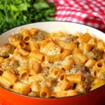 Cheesy Swedish Meatball Pasta Bake
